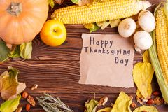 Autumn concept of vegetables view from above on a bag and brown wooden table. Thanksgiving day stock photos