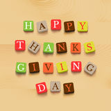 Thanksgiving day background. Colorful letters on wooden background. Vector illustration Royalty Free Stock Image