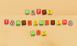 Thanksgiving day background. Colorful letters on wooden background. Vector illustration Royalty Free Stock Photos