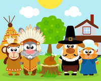 Thanksgiving day background,with funny animals Royalty Free Stock Photography