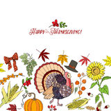 Thanksgiving. Day. Background with hand drawn elements. Vector Illustration Royalty Free Stock Image