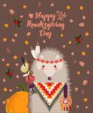 Thanksgiving day background with hedgehog. Thanksgiving party poster. Harvest festival Royalty Free Stock Photo
