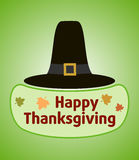 Thanksgiving day background with Pilgrim hat Stock Photography