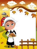 Thanksgiving day background pilgrim woman roast turkey vertical frame Royalty Free Stock Images