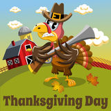 Thanksgiving day background square angry pilgrim turkey rifle countryside Royalty Free Stock Images