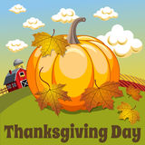 Thanksgiving day background square big pumpkin countryside Royalty Free Stock Photography