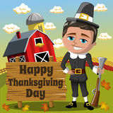 Thanksgiving day background square pilgrim man hunter rifle countryside Royalty Free Stock Photo