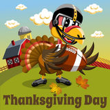Thanksgiving day background square pilgrim turkey american football countryside Stock Image