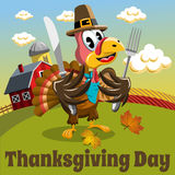 Thanksgiving day background square pilgrim turkey eat fork and knife in the countryside Stock Images
