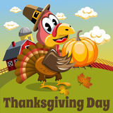 Thanksgiving day background square pilgrim turkey pumpkin countryside Royalty Free Stock Photo