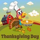Thanksgiving day background square pilgrim turkey traditional pie countryside Stock Photos