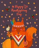 Thanksgiving day background with squirrel. Thanksgiving party poster. Harvest festival Royalty Free Stock Photos