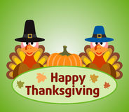 Thanksgiving  day background with turkey and pumpk Stock Image
