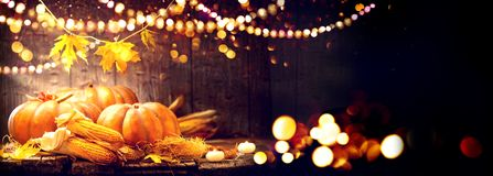 Thanksgiving Day background. Wooden table with pumpkins and corncobs