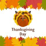 Thanksgiving day, banner with autumn leaves Stock Photos