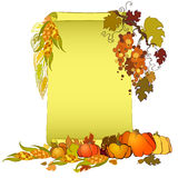 Thanksgiving day banner with scroll, turkey, pumpkin and corn Stock Images