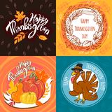 Thanksgiving day banner set, hand drawn style vector illustration