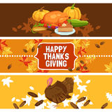 Thanksgiving Day Banner Set Stock Photo