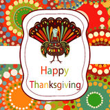 Thanksgiving day Beautiful colorful ethnic turkey bird label bri Stock Photography