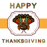 Thanksgiving day Beautiful colorful ethnic turkey bird label. Royalty Free Stock Image