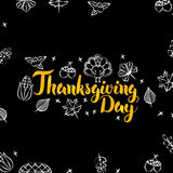 Thanksgiving Day Black Gold Postcard Stock Image