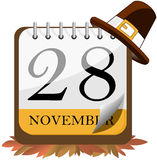 Thanksgiving Day Calendar 2013. On floor of autumn leaves with pilgrim hat on top isolated on white background. Eps file is available Stock Illustration