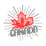 Thanksgiving day in Canada maple leaf stamp Stock Photos