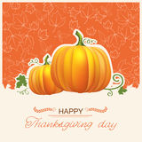 Thanksgiving day card with autumn pumpkins. Vector background with text Royalty Free Stock Images