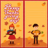 Thanksgiving day card with congratulations children pumpkin and turkey vector illustration. Boy  girl in modern clothes Stock Image