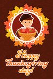 Happy thanksgiving day card with child leafs and congratulation lettering. Vector illustration family holiday. Boy Royalty Free Stock Photo