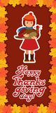 Happy thanksgiving day card with child leafs and congratulation lettering. Vector illustration family holiday. Girl Stock Photography