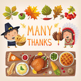 Thanksgiving day card elements vector illustration