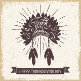 Thanksgiving day card. Hand drawn textured vintage Thanksgiving day card with Indian head piece vector illustration Stock Images