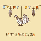 Thanksgiving day card, invitation with corn, turkey and flags,  Royalty Free Stock Photography