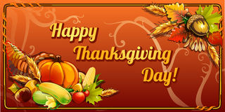 Thanksgiving day, card on an orange background Royalty Free Stock Image