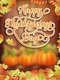 Thanksgiving day Card with Pumpkin. EPS 10. Card with Pumpkin and Autumn leaves. Thanksgiving day. EPS 10 vector file included Stock Photo