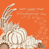 Thanksgiving day card with pumpkins and autumn decoration. Vector decor holiday background with text Stock Photo