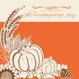Thanksgiving day card with pumpkins and decoration. Vector decor holiday background with text Royalty Free Stock Photo
