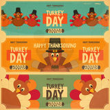 Thanksgiving Day. Card. Retro Posters Set with Cartoon Turkey. Vector Illustration Stock Image