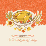Thanksgiving day card with roasted turkey dish Stock Photos