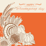 Thanksgiving day card with turkey bird and decoration. Vector decor holiday background with text Stock Images