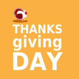 Thanksgiving day card with turkey and text in minimalist flat style, can be used for advertising poster design Stock Image