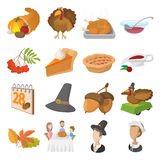 Thanksgiving day cartoon icons Royalty Free Stock Image
