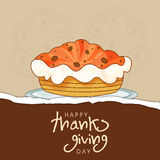 Thanksgiving day celebration with cake and text. Stock Image