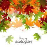 Thanksgiving day celebration with colorful maple leafs card. Stock Photos