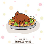Thanksgiving Day celebration with cooked chicken. Stock Images
