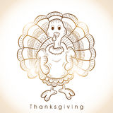 Thanksgiving Day celebration with floral decorated shiny turkey Royalty Free Stock Photo