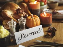 Thanksgiving day celebration food table Stock Photos
