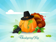 Thanksgiving Day celebration with fruits, vegetables and Turkey Royalty Free Stock Photo