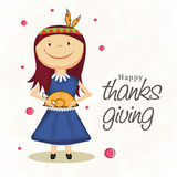 Thanksgiving day celebration with girl holding a cooked chicken Royalty Free Stock Photography